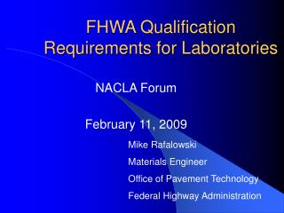 FHWA Qualification Requirements for Laboratories