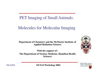 PET Imaging of Small Animals:  Molecules for Molecular Imaging