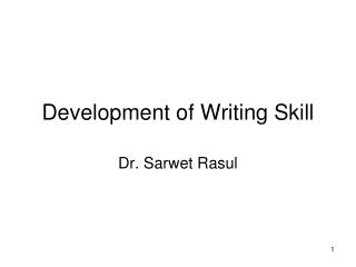 Development of Writing Skill