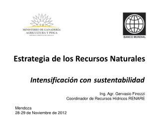 Estrategia de los Recursos Naturales Intensificación con sustentabilidad