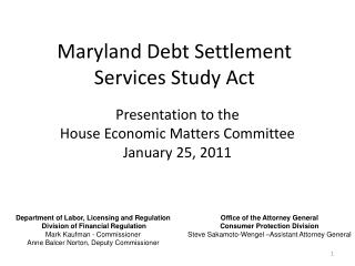 Maryland Debt Settlement Services Study Act