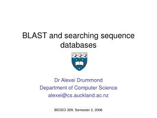 BLAST and searching sequence databases
