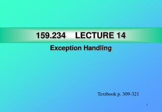 159.234 LECTURE 14