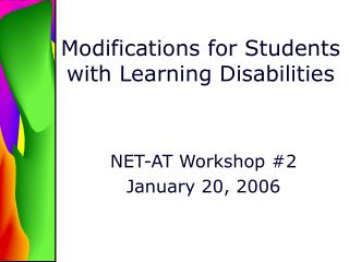 Modifications for Students with Learning Disabilities