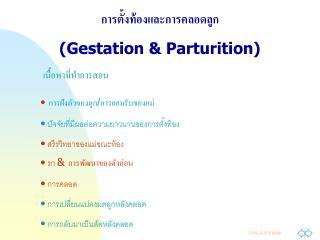 การตั้งท้องและการคลอดลูก (Gestation & Parturition)