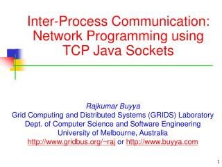 Inter-Process Communication: Network Programming using TCP Java Sockets