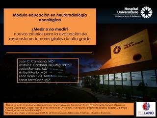 Juan C. Camacho, MD 1 Andrés F. Cardona, MD  MSc  PhDc 2,3 Javier Romero, MD 1
