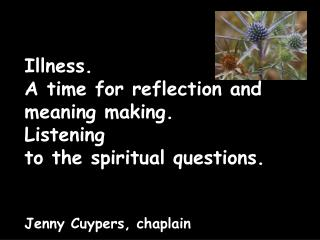 The crisis of illness. What are the questions of  spiritual pain? How can we respond?