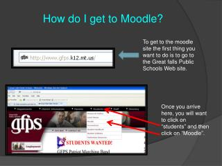 "Once you arrive here, you will want to click on ""students"" and then click on "" Moodle ""."
