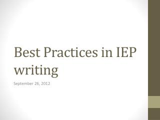 Best Practices in IEP writing