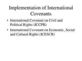 Implementation of International Covenants