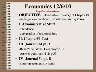 Economics 12/6/10  mrmilewski