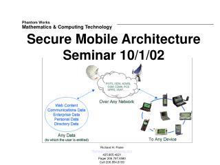 Secure Mobile Architecture Seminar 10/1/02