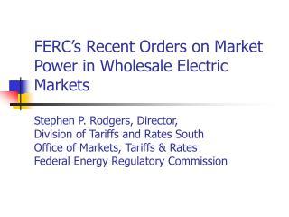 FERC's April 14 Orders on Market Power