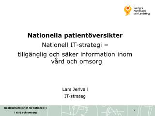 Nationella patientöversikter Nationell IT-strategi  –