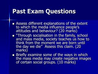 Past Exam Questions