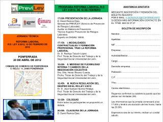 PONFERRADA  20 DE ABRIL DE 2012 CÁMARA DE COMERCIO DE PONFERRADA C/ RELOJ  11, 24400 PONERRADA