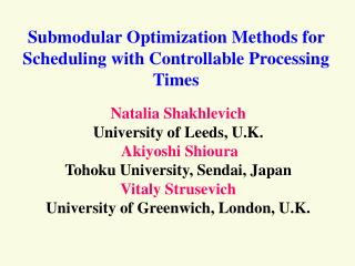 Submodular Optimization Methods for Scheduling with Controllable Processing Times