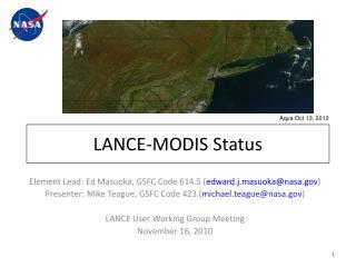 LANCE-MODIS Status