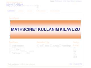 MATHSCINET KULLANIM KILAVUZU