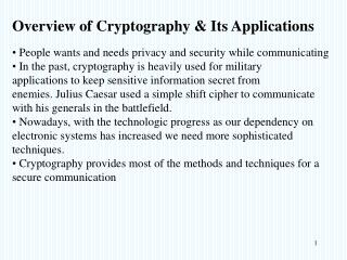 Overview of Cryptography & Its Applications