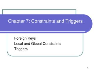 Chapter 7: Constraints and Triggers