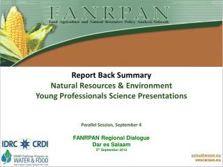 Report Back Summary Natural Resources & Environment  Young Professionals Science Presentations