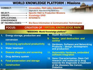 WORLD KNOWLEDGE PLATFORM : Missions