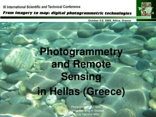 Photogrammetry and Remote Sensing in Hellas (Greece)