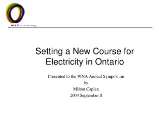 Setting a New Course for Electricity in Ontario