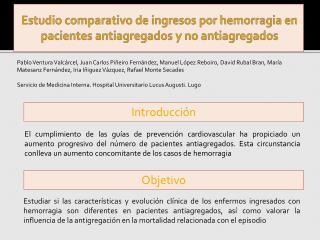 Estudio comparativo de ingresos por hemorragia en pacientes  antiagregados  y no  antiagregados