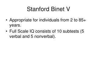 Stanford Binet V