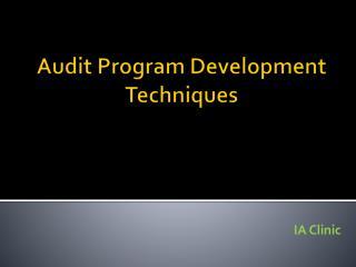 Audit Program Development Techniques