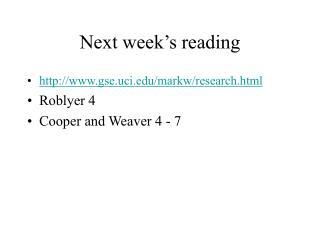 Next week's reading