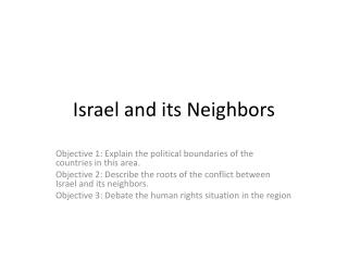 Israel and its Neighbors
