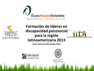 Formaci�n  de l�deres en discapacidad psicosocial para la regi�n latinoamericana  2013