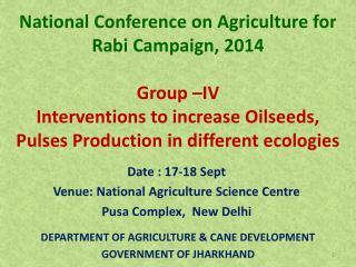 Date : 17-18 Sept Venue: National Agriculture Science Centre  Pusa Complex,  New Delhi