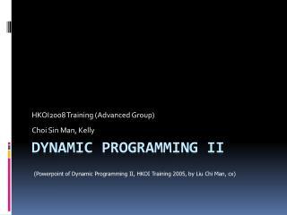Dynamic Programming II