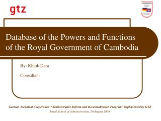 Database of the Powers and Functions of the Royal Government of Cambodia