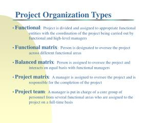 Project Organization Types