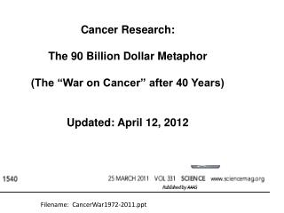 Cancer Research:  The 90 Billion Dollar Metaphor  The  War on Cancer  after 40 Years   Updated: April 12, 2012