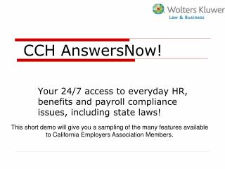CCH AnswersNow!
