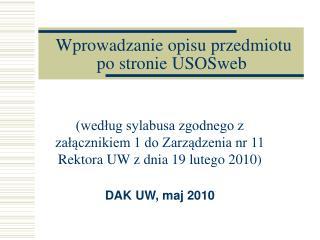 Wprowadzanie opisu przedmiotu po stronie USOSweb