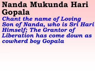 New 869 Nanda Mukunda Hari Gopala