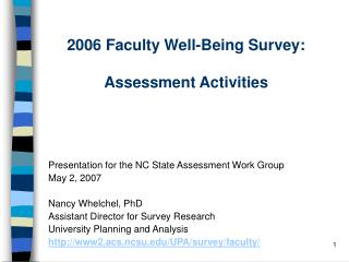 2006 Faculty Well-Being Survey:  Assessment Activities