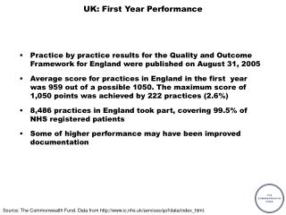 UK: First Year Performance