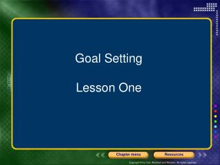 Goal Setting Lesson One