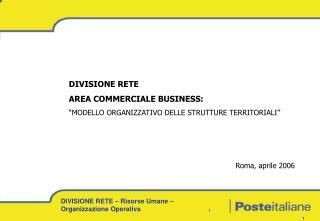 """DIVISIONE RETE AREA COMMERCIALE BUSINESS: """"MODELLO ORGANIZZATIVO DELLE STRUTTURE TERRITORIALI"""""""