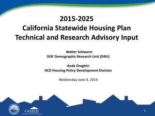2015-2025  California  Statewide Housing Plan Technical and Research Advisory Input