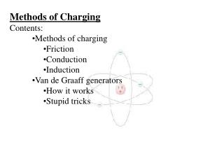 Methods of Charging Contents: Methods of charging Friction Conduction Induction